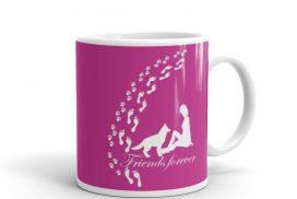 """Die """"Friends forever"""" Tasse in pink ist das etwas andere Geschenk zum Geburtstag jeder Hundemama, Gartenparty oder Hundeshower"""