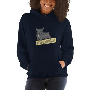 Happy Frenchie Mama Hoodie in blau